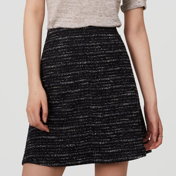 1c3530027 Ann Taylor LOFT Skirts | Tweed Flippy Skirt Black White 4 | Poshmark